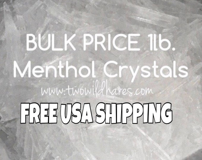 1lb MENTHOL Crystals, Free USA Shipping, 100% Mentha Arvensis, DIY Steamers, Salve, Toothpaste, Two Wild Hares