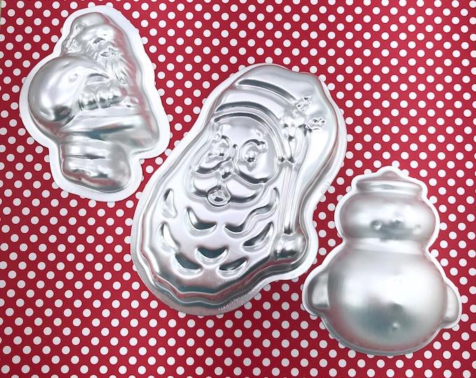 CHRISTMAS SET (Santa w/Toys/Santa Claus Beard/Fat Snowman) Bath Bomb & Baking Molds, Metal, Christmas, Winter, Snow, Two Wild Hares