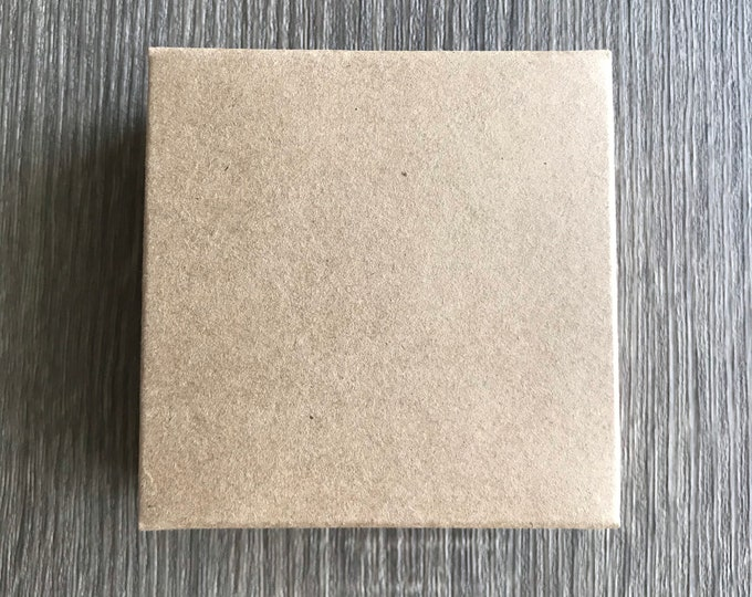 """100-KRAFT Loofah Soap Box, Square NO Window, 3.06"""" x 3.06"""" x 1.3438"""", Eco Friendly Recyclable Soap Packaging, FREE Us Ship, Two Wild Hares"""