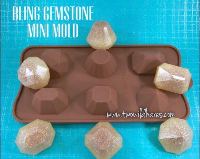 BLING 6 Gemstone Mini Mold, Silicone, Faceted Gem Shapes! DIY Soap, Free US Ship, Two Wild Hares