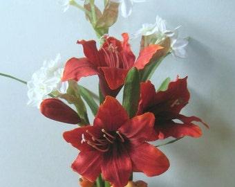 Valentine Flowers Floral Arrangement, Red Amaryllis Winter Bulbs Paperwhites Narcissus