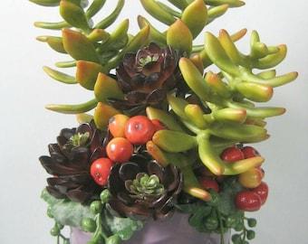 Mixed Succulent Arrangement, Artifical Succulents String of Pearls Plant, Purple Succulent Garden, Golden Sedum