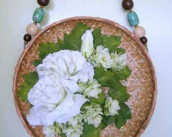 Cottage Wall Hanging, Wooden Bead Basket, Floral Wall Hanging, White Flower Arrangement