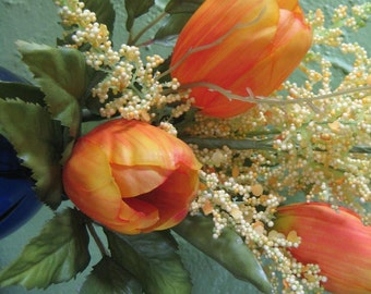 Orange Spring Tulips Floral Arrangement Orange Tulip Bouquet Cobalt Blue Glass Vase