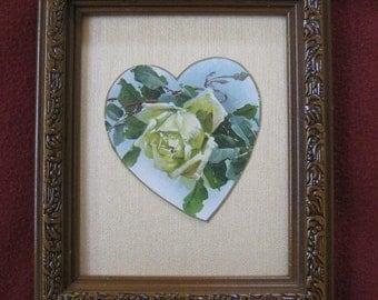 Vintage Floral Rose Framed Victorian Ivory Rose Die Cut Heart ~ Oatmeal Silk Background