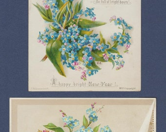 1880's Victorian Christmas and New Year's Greetings Cards: Forget-Me-Nots