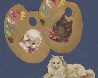 Original 1890's Victorian Die Cut Artist Palette Trade Cards + Die Cut: Cats and Dog
