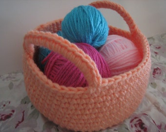 Crochet storage basket /catch all for everything from sewing to kids small toys boho look and eclectic decorr