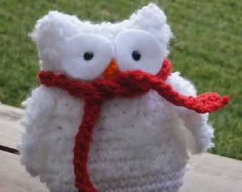 Crochet Fall/Winter White Owl with Scarf