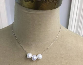 Three Freshwater Pearls on a Delicate Sterling Silver Chain -- Modern Pearl Necklace