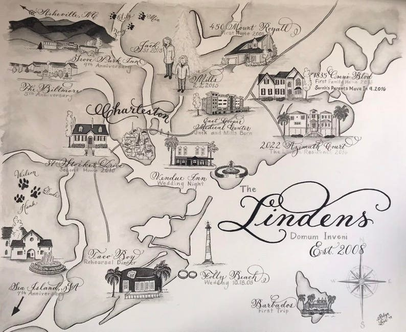 Monochromatic watercolor  Calligraphy Wedding Maps for Weddings and special events