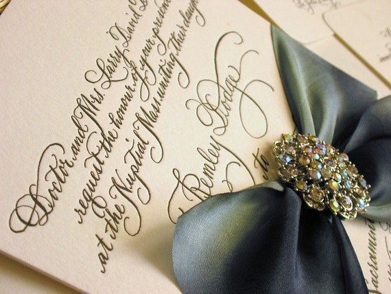Diy calligraphy wedding invitation wording to print yourself etsy image 0 solutioingenieria Image collections