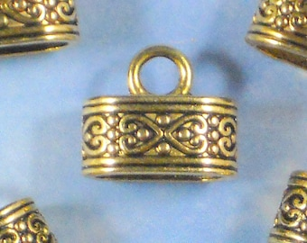 8 Oval End Caps Antique Tibetan Silver Tone Glue In Cap