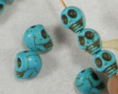 18 Small Skull Beads Turquoise Veined Dyed Howlite 10mm x 8mm - Day of the Dead Lolita (5607)
