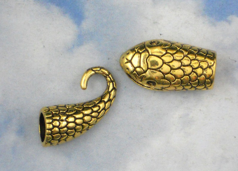 1 Snake Clasp Head /& Tail S Hook Closure Cord End Caps Gold Tone 7mm Tube Glue In P2040