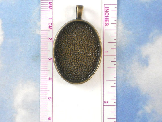P1416 3 Deep Bezel Cup Blanks Settings Bronze Tone Oval 30mm x 22mm Resin Photo Frame Cabochon Pendants