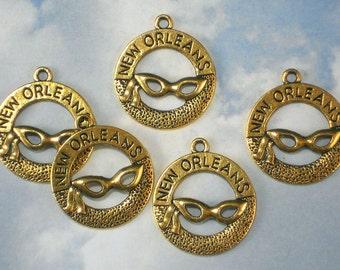 BuLK 25 NOLA New Orleans Charms Antiqued Gold Tone Circle Pendants Mardi Gras (P1941 -25)