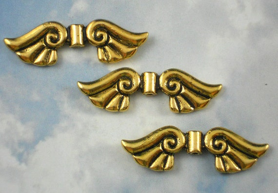 BULK 50 Angel wing spacer beads bright gold tone GC315