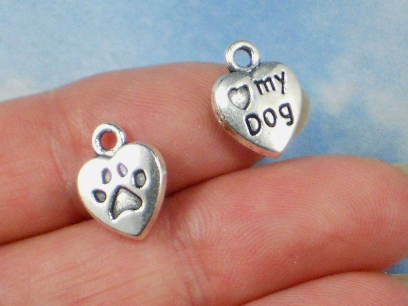 Tibetan Silver Alloy I LOVE DOGS charm Single sided
