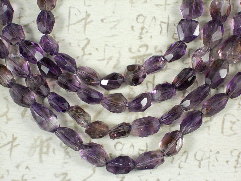 12 Amethyst Faceted Beads Natural Gemstone Purple Oval Bean Freeform 5101