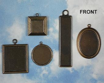 5 VINTAJ Bezel Collection Brass Shapes Assortment Tray Blanks Settings Mix (V116)