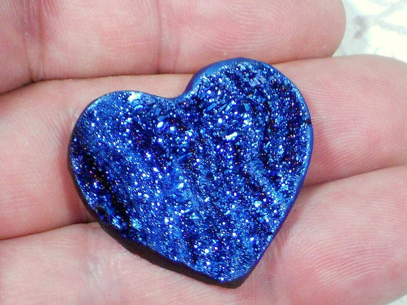 D2211 Blue Druzy Heart 35mm Crystal Drusy Cabochon Metallic Coated