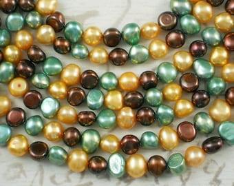 LaST 62 Asst Pearls Chocolate Gold & Mint Green Potato Button Freshwater (4099)