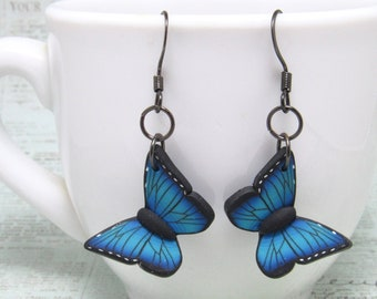 Butterfly Dangle Earrings, Blue Morpho, Yellow Swallowtail, Orange Monarch, Polymer Clay, Realistic Nature Jewelry, Unique Womens Gift