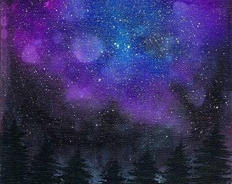 Galaxy Tree Painting, Night Sky Silhouette, Blue Purple Black, Nature Scene, Original Art, Alcohol Ink on Canvas Board, 5x7, Small Landscape