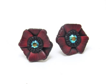 Sale Poppy Stud Earrings, Flower Post Earrings, Red Green Black, Polymer Clay, Nature Jewelry, Unique Women's Gift, Bridesmaid Gift