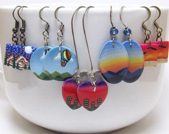 Landscape Dangle Earrings, Mountain Scene, Beach Sunset, Heart Cityscape, Hot Air Balloon, Polymer Clay, Unique Womens Gift, Sale