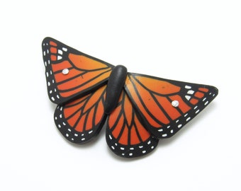 Butterfly Barrette, Orange Monarch Hair Clip, Polymer Clay, Nature Jewelry, Unique Women's Gift, Teenage Girl Gift