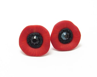 Abstract Poppy Stud Earrings, Flower Post Earrings, Red Black, Polymer Clay, Nature Jewelry, Unique Women's Gift, Bridesmaid Gift