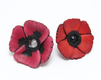 Poppy Brooch, Flower Pin, Red Pink Black, Polymer Clay, Floral Brooch, Lapel Pin, Spring Accessory, Unique Womens Gift, Memorial Day