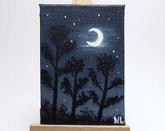 Moonlight Mini Painting, Tree Silhouettes, Night Sky Scene, Monochromatic Art, Nature Landscape, Acrylic Canvas, Bookshelf Decor, Blue Black