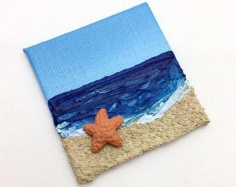 Sea Star Art Magnet, Mini Starfish Painting, Beach Landscape, Polymer Clay, Acrylic Canvas, Blue & Tan, Summer Decor, Sea Life Art