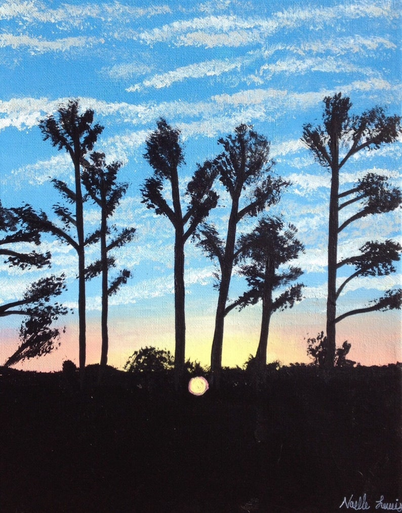 Sunrise Silhouette Painting Cloudy Tree Scene Blue Pink image 0