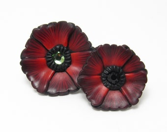Poppy Brooch, Red Flower Pin, Polymer Clay, Floral Brooch, Lapel Pin, Spring Accessory, Unique Womens Gift, Memorial Day