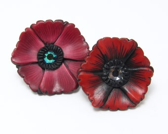 Poppy Brooch, Red Pink Flower Pin, Polymer Clay, Floral Brooch, Lapel Pin, Spring Accessory, Unique Womens Gift, Memorial Day