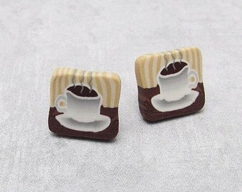 Coffee Cup Stud Earrings, Brown & White, Polymer Clay Cane, Cafe Scene, Unique Jewelry, Women's Gift