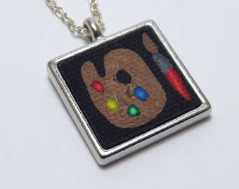 Painter's Palette Necklace, Black & Multi, Square Pendant, Polymer Clay Cane, Art Jewelry, Artist Gift, Teacher Gift, Unique Women's Gift