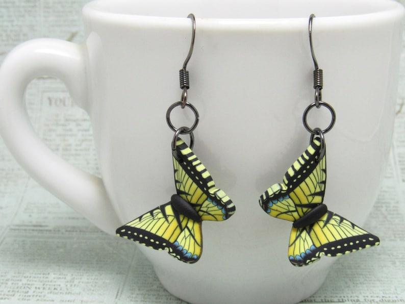 Butterfly Dangle Earrings Yellow Swallowtail Orange Monarch Yellow