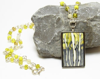 Aspen Tree Pendant, Beaded Necklace, Yellow & Gray, Polymer Clay Cane, Landscape Scene, Nature Jewelry, Art Jewelry, Unique Womens Gift