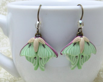 Luna Moth Dangle Earrings, Green Purple & Beige, Polymer Clay, Realistic Nature Jewelry, Unique Women's Gift, Bug Lover Gift
