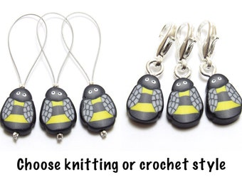 Bee Stitch Markers, Bug Progress Keepers, Set of Three/ Six, Yellow & Black, Polymer Clay Cane, Handmade Supply, Knitter Gift, Crochet Gift