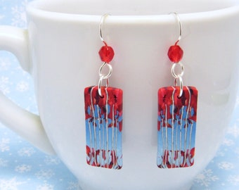 Birch Tree Earrings, Red Blue Multi, Landscape Scene, Polymer Clay Cane, Nature Inspired, Art Jewelry, Dangle Earrings, Unique Women Gift