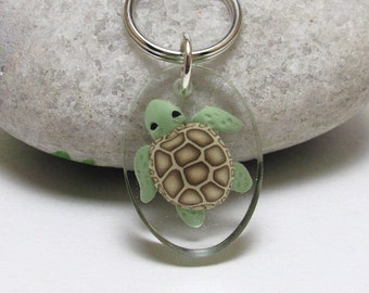 Resin Turtle Keychain, Sea Turtle Keyring, Animal Key Fob, Ocean Inspired, Green & Brown, Polymer Clay Cane, Clear Oval Keychain, Teen Gift