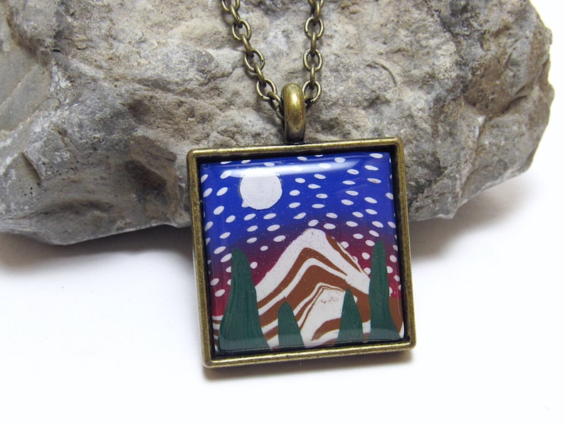 Snowy Mountain Scene Pendant Necklace Blue & Brown Polymer image 0