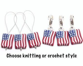 American Flag Stitch Markers, Patriotic Progress Keepers, Red White Blue, Polymer Clay Cane, Knit Crochet Gift, 4th of July
