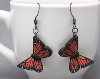Butterfly Dangle Earrings, Orange Monarch, Blue Morpho, Yellow Swallowtail, Polymer Clay, Realistic Nature Jewelry, Unique Womens Gift